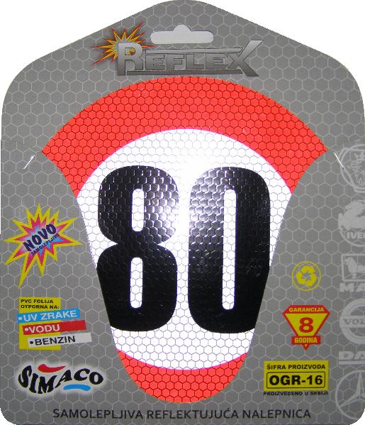 Simaco Nalepnice - Reflektujuće Nalepnice | Reflex - Fluo | Reflektujuće ograničenje brzine prečnik 160 mm